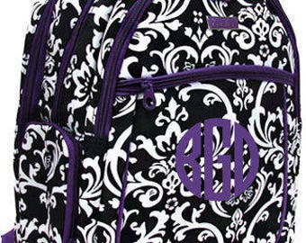 Monogrammed Purple Trim Damask Computer Backpack