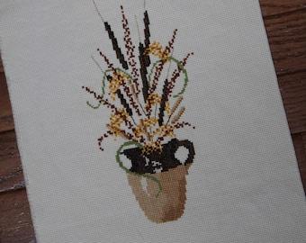 Vintage Cross stitch Needlepoint Brown Pitcher Vase with Cattails