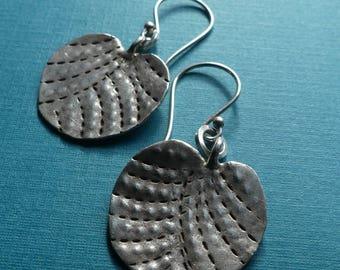 Thai Fine Silver Leaf Earrings- Hill Tribe Silver- Botanical