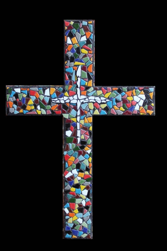 Large Ceramic Tile Mosaic Wall Cross Made to Order