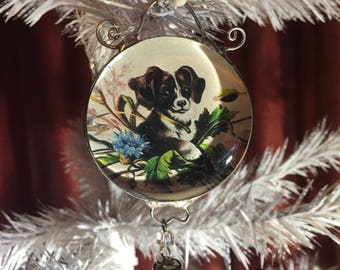 Sale Half Off Round Soldered Glass Puppy Ornament