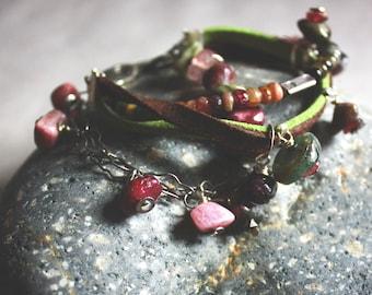Tourmaline Leather Bracelet. Oxidized Silver Bracelet.  Rustic Bracelet. Silversmith. Charm Bracelet. Multi Strand Pink and Green Bracelet.