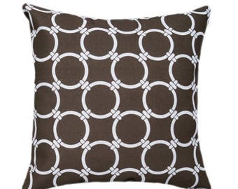 Premier Prints Linked Bay Brown Decorative Outdoor Pillow - Brown Gatework Circles Throw Pillow - Free Shipping