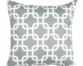 Gotcha Twill Storm Grey Decorative Pillow - Gray Chain Link Pillow - Free Shipping