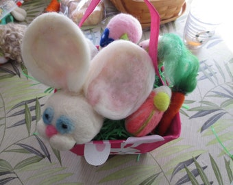 needle felted EASTER BASKET goodies in cute bunny box, ready to gift or use as table display