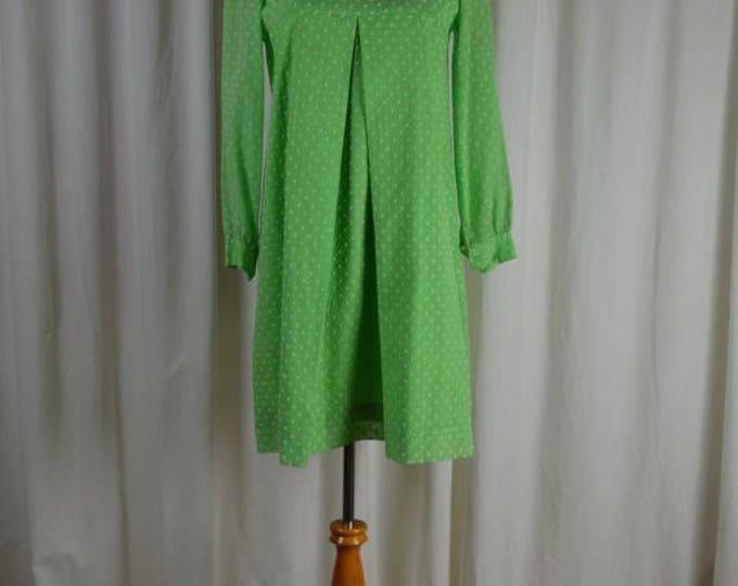 sale Vintage Dress,  60s Dress, Green Dress, Polka Dot Dress, Long Sleeve Dress, Sheer Dress, Office Dress, Empire Waist, Size Medium