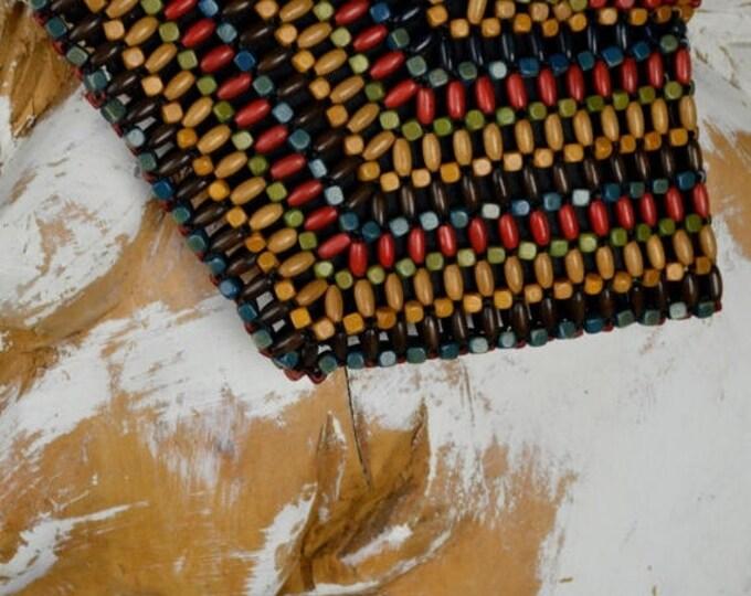 sale 1930s Vintage Purse, Wooden Beaded Purse, Vintage Bag, Czech Beads, Arts and Craft, Hippie Purse, Bohemian Purse, Boho Chic Purse