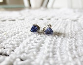 TANZANITE Sterling Silver Stud Earrings Trillion Cut Post Clutch Small Triangle 925 Gemstone Vintage Jewelry