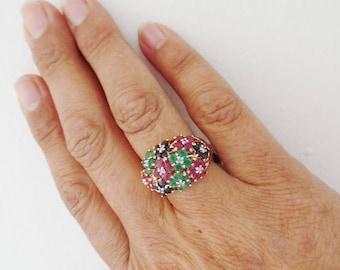 Flower Ring Multi Colored Gemstone 14K Yellow Gold Sapphire Ruby Emerald Diamond Estate Fine Jewelry Size 7 Retro Modern Cocktail Statement