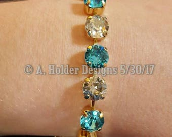 Crystal Bracelet - Clear and Turquoise Swarovski Chatons - 8 mm stone size