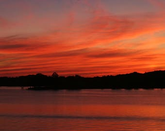 Roed Glow photograph on canvas sunset red orange framed Jean Macaluso