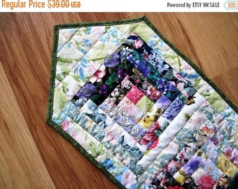 Summer Sale Quilted Table Runner Summer flowers  Patchwork  Watercolor log cabin  Quiltsy  Handmade