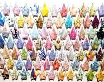 100 Large Origami Cranes Origami Paper Cranes - Made of 15cm 6 inches Japanese Chiyogami Paper - 100 Different Designs B
