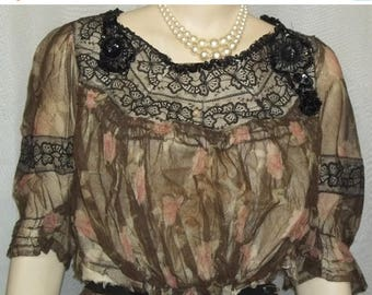 ON SALE Vintage Edwardian Victorian Floral Net Dress Skirt Beaded Blouse Steampunk
