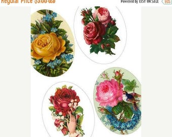 Weekly Sales Item - Rare Victorian Roses - 30x40 mm Oval Digital Collage Sheet - Digital Sheet - Weekly Promotion Sale