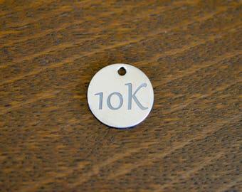 10K Custom Laser Engraved Stainless Steel Charm CC663