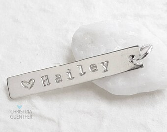 Hand Stamped Sterling Silver Bar Pendant - Personalized Name Initial Jewelry GPS Latitude Longitude - Charm  Pendant - Christina Guenther