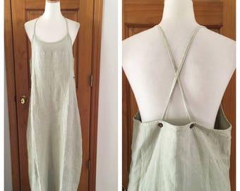 vintage linen farm house Apron Dress / pale green chore dress