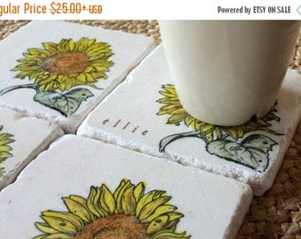 XMASINJULYSale Personalized Sunflower Tile Coasters - Garden Home Decor - Set of 4