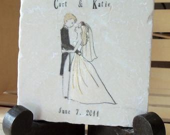 XMASINJULYSale Personalized Wedding Keepsake Tile Trivet - Wedding Gift For the Couple - Custom Keepsake