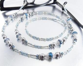 Blue Crystal and Hematite Beaded Eyeglass Lanyard, Sunglasses Leash, Glasses Necklace