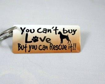 BOXER DOG KEYCHAIN - Key Fob - Rescue Dog - Purse Decor - Luggage Tag - Adopt a Dog - Ink Fused Aluminum - Furbaby - dog mom