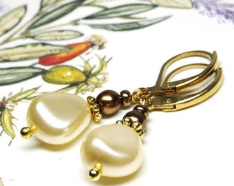 Earrings GOLD NUGGETS ❀ ❀ OR751 Golden cream pearls