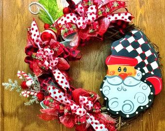 FREE SHIPPING Harlequin Buffalo Plaid Checks Santa - Welcome Door Grapevine Wreath