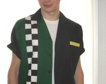 Men's Rockabilly Shirt Jac Checkerboard Racing Stripe