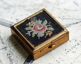 TINY vintage metal pillbox from an estate sale, embroidery, coolvintage, accessories, collectibles, ornate, gorgeous, metal box, UA