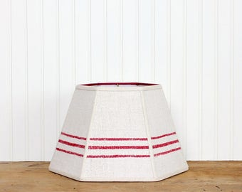 Red Stripe Grain Sack Lamp Shade - Antique Grain Sack - Cottage Decor - Rustic - 7x12x8 Hex - Industrial - Farmhouse Style - Table Lampshade