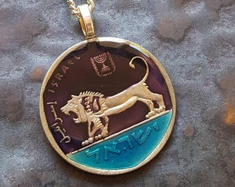 Israel - Lion Coin Pendant - Hand Painted