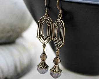 Dangle Earrings - Antique Gold, Art  Deco, Bohemian Czech Glass, Purple, Lavender