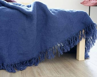 Blue Linen Throw Blanket with Fringes/ Pure Linen Summer Blanket | Dark Denim Blue Bed Cover/ Thick Linen Outdoors Throw/ Housewarming Gift