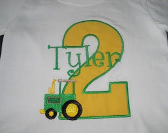 Tractor Theme Applique Birthday shirt