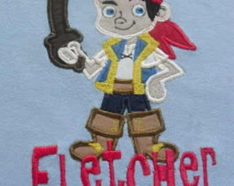 Custom Jake and Neverland Pirate Applique shirt