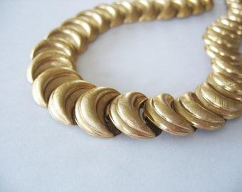 Napier Link Choker Necklace, Brushed Goldtone, Overlapping Links, Crescent Moon, 1970's