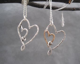 I Carry Your Heart in My Heart - Two Hearts Together -Double Heart Necklace - Love - Heart Jewelry