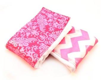 SALE Girl Burp Cloths - Pink Glitter Chevron Damask - Set of 2 // Cotton Burp Cloth // Baby Shower Gift // Diaper Burp Cloth / Pink Burp Clo