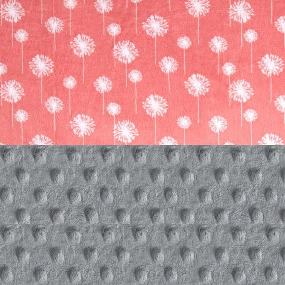 Girl Baby Lovey, Personalized Baby Blanket - Minky Baby Blanket, Coral Gray Floral Baby Blanket Mini Baby Blanket Security Blanket Baby Gift