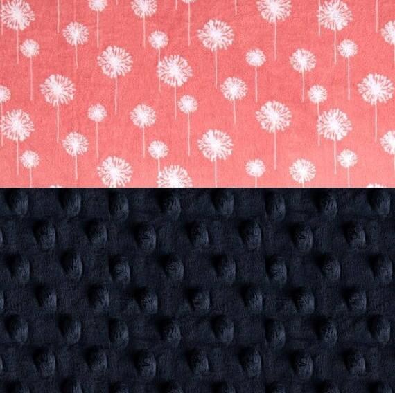 Crib Blanket / Coral Navy Flower Blanket // 42 x 55 Minky Blanket Girl, Dandelion Personalized Baby Blanket / Gray Coral Baby Blanket