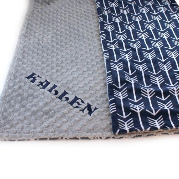 Crib Blanket // 42 x 55 Crib Size Minky Boy Baby Blanket, Personalized Navy Blue Arrow Gray