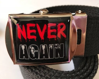 Never Again Adjustable Size Buckle and Belt