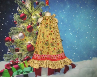Girls Christmas Dress 6/7 Gold Musical Floral, Red Ribbon Pillowcase Dress, Pillow Case Dress, Sundress, Boutique Dress