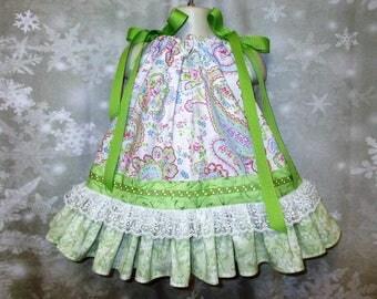 Baby Girl Dress 12M-18M White Pink Paisley Floral Pillowcase Dress, Pillow Case Dress, Sundress, Boutique Dress
