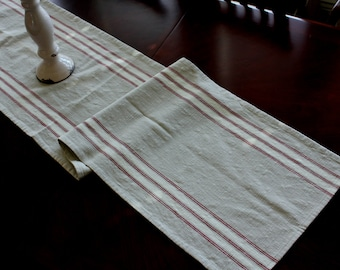 Striped Cotton Table Runner - Flax with Natural and Scarlet Stripes