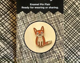Fox Pin - Lapel Pin - Gold Enamel Pin - Shiny Gold Metal - Kawaii Flair Pin - Fox Lover - Red Fox - EP2090