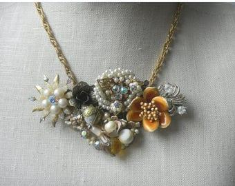 Memorial Day SALE Downton Dream Gold Pearl Baroque  Vintage Collage Necklace