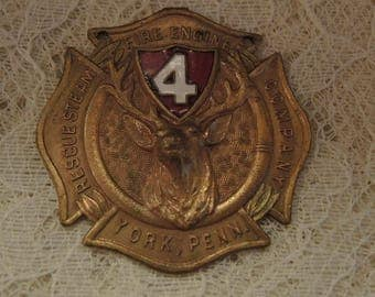 Whitehead And Hoag Fireman's Medallion - Rescue Steam Fire Engine Company - York, Pa