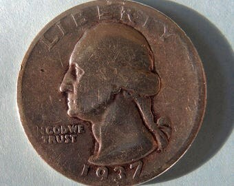 1937 Silver Washington Quarter Collectible Quarter Vintage Coins Rare Coins USA Coins FREE Shipping